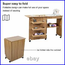 Foldable Sewing Table Crafting Workstation with Storage Cabinet Lockable Casters