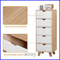 Free Standing Chest of 5 Drawers Wooden Bedside Table Storage Cabinet Nightstand
