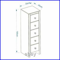 Glass Mirrored Bedroom Bedside Table Unit Crystal Side 5 Drawer Storage Cabinet