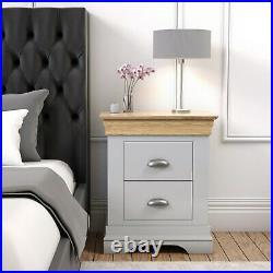 Grey Bedside Table Oak Top 2 Drawer Solid Wood Storage Cabinet Bedroom Furniture