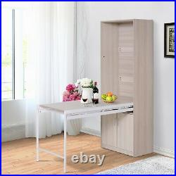 HOMCOM 2-in-1 Storage Bookcase with Drop-Leaf Table Freestanding Oak Wood Color