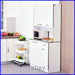 HOMCOM 4 Door Pantry Storage Cabinet Kitchen Display Table White