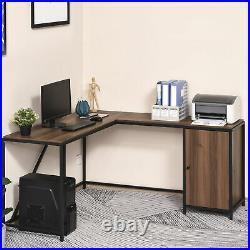 HOMCOM L-Shape Computer Desk Corner Writing Table Workstation with Storage Cabinet