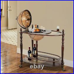 HOMCOM Wine Bar Globe Trolley Cabinet Stand Minibar Storage Drinks Table Vintage