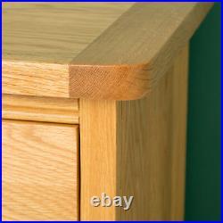 Hampshire Oak Bedside Table 3 Drawers Light Solid Wood Cabinet Bedroom Storage