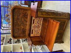 Hand carve oriental drinking cabinet bar wine bar storage serving station