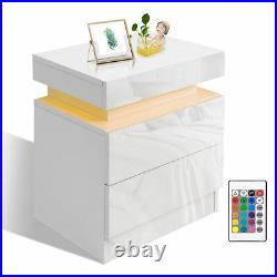 High Gloss Bedside Table Cabinet Bedroom Storage Nightstand with RGB LED Light