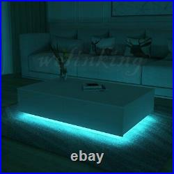 High Gloss Coffee Table 4 Storage Drawers with LED Light Living Room Furniture