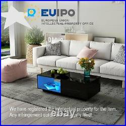 High Gloss Coffee Table Rectangle Sofa Table with 1 Storage Drawer RGB LED Option