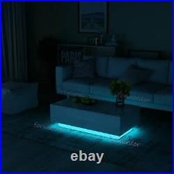 High Gloss Coffee Table with LED 4 Storage Drawers Modern Living Room Furniture