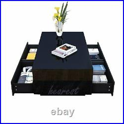 High Gloss LED Coffee Table with 4 Drawer Storage Modern Sofa Side End Table