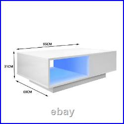 High Gloss LED Modern Coffee Table Wooden Drawer Storage Living Room