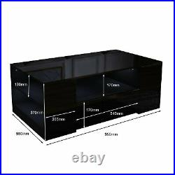 High Gloss LED Modern Coffee Table Wooden Drawer Storage Living Room Furniture