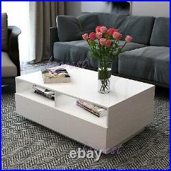 High Gloss RGB LED Modern Coffee Table with 4 Drawer Storage Sofa Side End Table