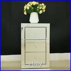 Home Mirrored Furniture Glass 3 Drawer Storage Bedroom Bedside Cabinet Table New