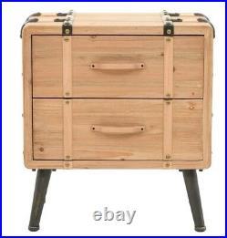 Industrial Bedside Cabinet 2 Drawers Storage Unit Vintage Retro Furniture Rustic