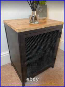 Industrial Bedside Table Rustic Metal Cabinet Small Vintage Storage Cupboard