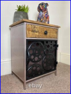 Industrial Bedside Table Rustic Metal Cabinet Vintage Unit Storage Cupboard