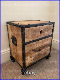 Industrial Bedside Table Rustic Solid Wood Wheels Storage Cabinet Vintage Metal