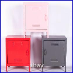 Industrial Metal Locker Storage Bedside Cabinet Side Table Cupboard