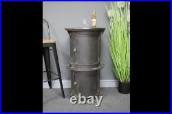 Industrial Round Metal Cabinet / Bar Table Practical Storage