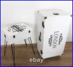 Industrial Side Cabinet Storage Door Cupboard Vintage Retro Table 4 Wheels Unit