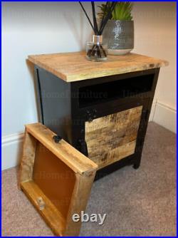 Industrial Side Cabinet Vintage Bedside Table Rustic Metal Storage Cupboard Unit