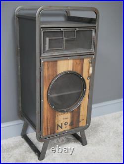 Industrial Side Cabinet Vintage Tall Bedside Table Rustic Metal Storage Cupboard