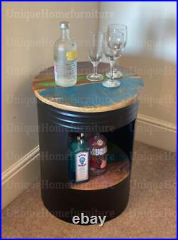 Industrial Side Table Storage Coffee Cabinet Rustic Metal Wine Drinks Bar Unit
