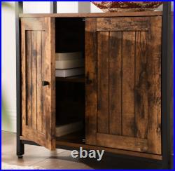 Industrial Storage Cabinet Vintage Side Door Cupboard Rustic Metal Console Table