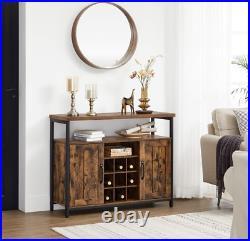 Industrial Storage Sideboard Vintage Wine Cabinet Rustic Metal Console Table