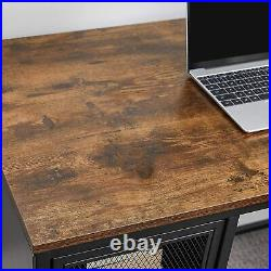 Industrial Style Desk Vintage Computer Writing Table with Storage Cabinet Metal