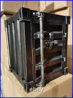 Industrial Vintage Bedside Side Table Cabinet Metal Storage Tools Box Container