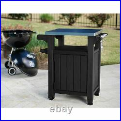Keter 230852 Unity Portable Outdoor Table and Storage Cabinet with Hooks, Gray