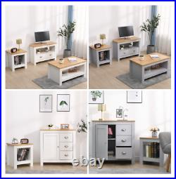 Kingwudo Wooden Living Room Set 2/3 Piece TV Stand/Coffee/Lamp Table Storage
