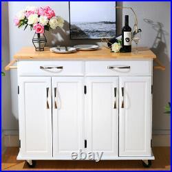Kitchen Island Butchers Block Table Storage Cart Cabinet Trolley Cupboard Drawer