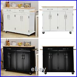 Kitchen Island Cart Butchers Block Trolley Breakfast Bar Table Storage Cabinet