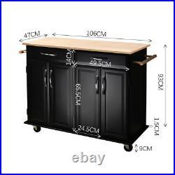 Kitchen Island Unit Butchers Block Trolley Breakfast Bar Table Storage Cabinet
