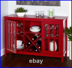 Kitchen Storage Buffet Red Cabinet Wood Dining Wine Storage Rack Sideboard Table