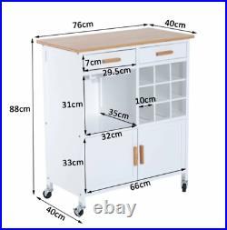 Kitchen Trolley Island Wine Drinks Cart Storage Cabinet Table Wooden Door Unit
