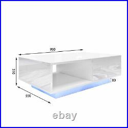 LED Lamp Coffee Table Tea Side Table TV Unit Cabinet High Gloss Storage Drawer