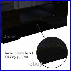 LED Light High Gloss Coffee Table with Storage 2 Drawers Living Room Furniture