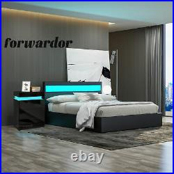 LED Ottoman Storage Bed Faux Leather Bed Frame, High Gloss Bedside Cabinet Table