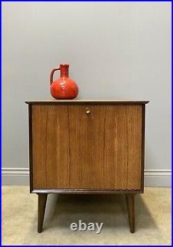 Lamp Table, Hifi Cabinet, 1970s Vinyl Record Storage Cupboard, MID Century
