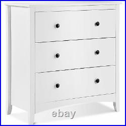 Large Chest of 3 Drawers White Bedside Table Storage Cabinet Bedroom Hallway