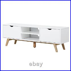 Large TV Stand Scandinavian Cabinet Wood White Television Console Table Storage
