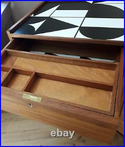 Mid-century pair vintage box storage bedside tables cabinets rare teak