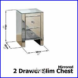 Mirrored 2 Drawer Slim Chest Table Lamp Bedside Cabinet Storage Clear Glass