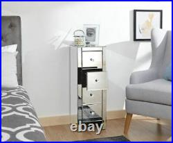 Mirrored 4 Drawer Slim Chest Table Lamp Bedside Cabinet Storage Clear Glass