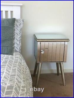 Mirrored Bedside Table 1 Door Glass Cabinet Nightstand Bedroom Storage